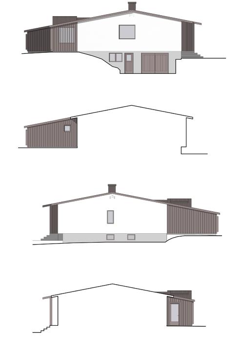 Tillbyggnad B, fasader